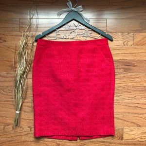 The Limited Size 6 Red Quilt Pencil Skirt